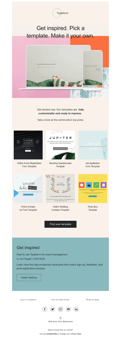 Screenshot of email from: talkwithus@typeform.com