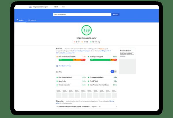 page load speed score