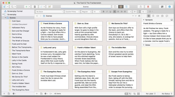 Scrivener, a type of free screenwriting software