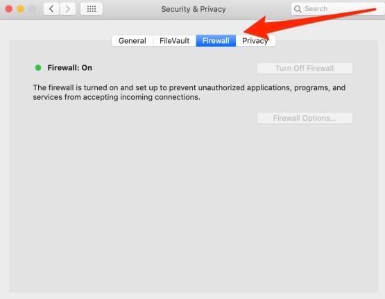 Firewall Settings on Mac