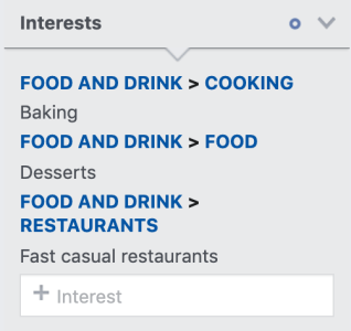 interests like baking, desserts, and fast casual restaurants selected in the interests section