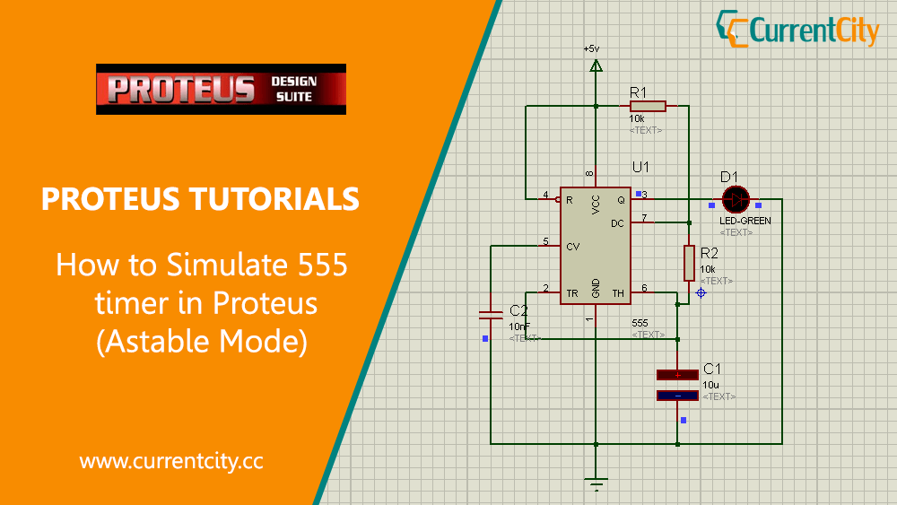 How to Simulate 555 Timer (Astable Multivibrator Mode) in Proteus