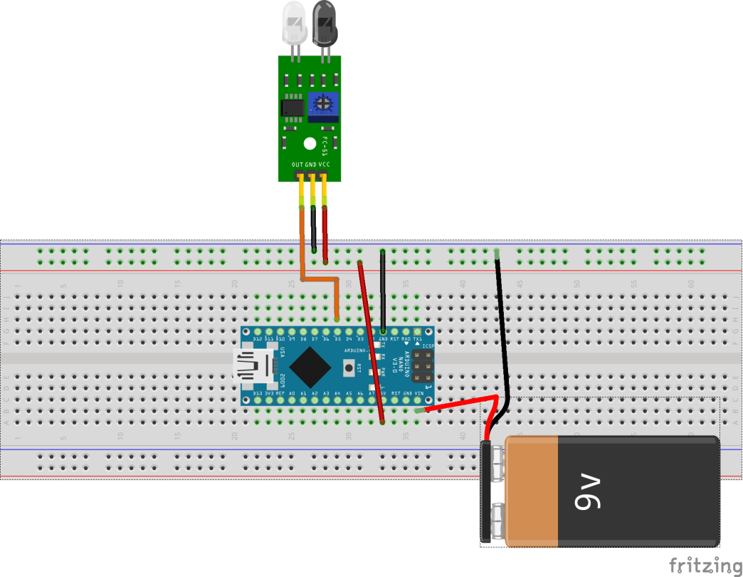 Fritzing set up for circuit
