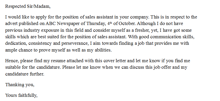 sales cover letter example adjective