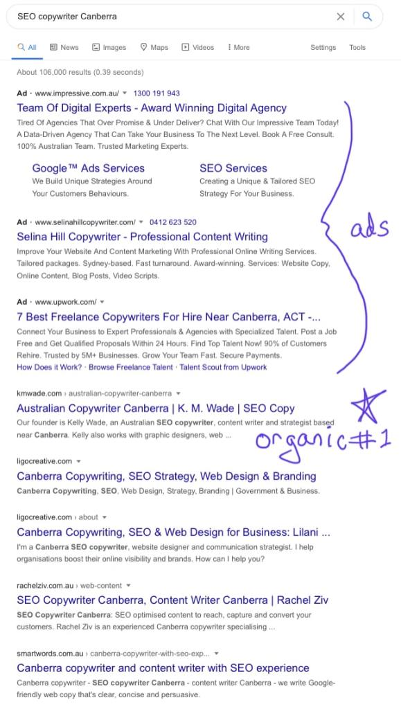 K.M.Wade sets at the top of the organic search results for the query 'SEO copywriter Canberra'