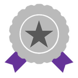 Silver award with purple ribbons and star icon