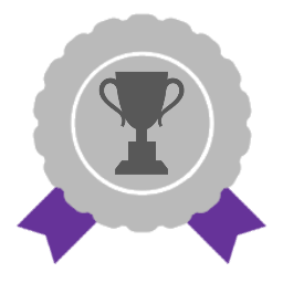 Silver award with purple ribbons and trophy icon