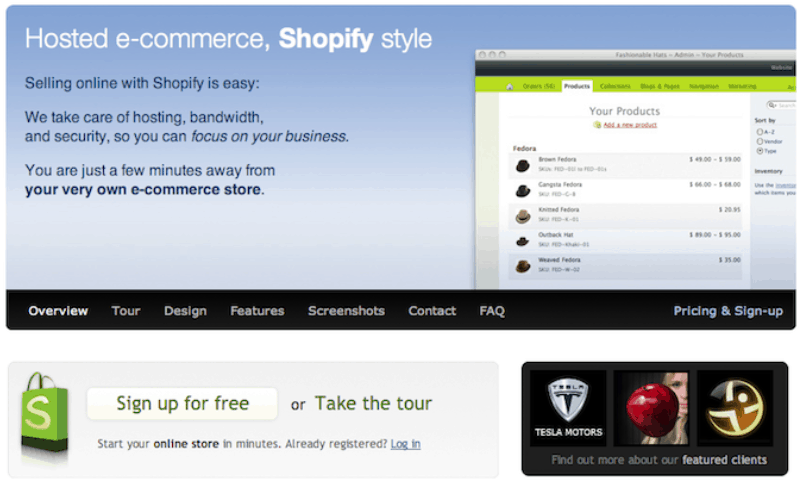 First Version of Shopify Website