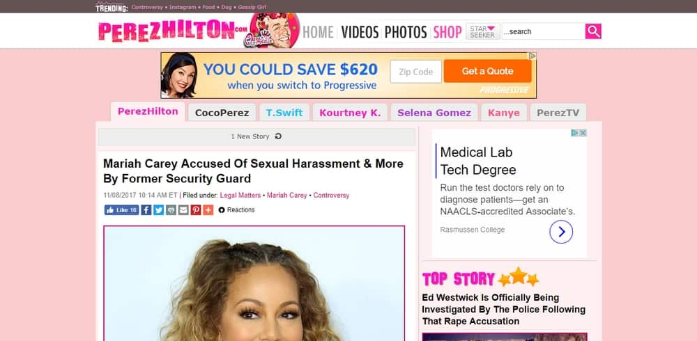 Perez Hilton is built with WordPress