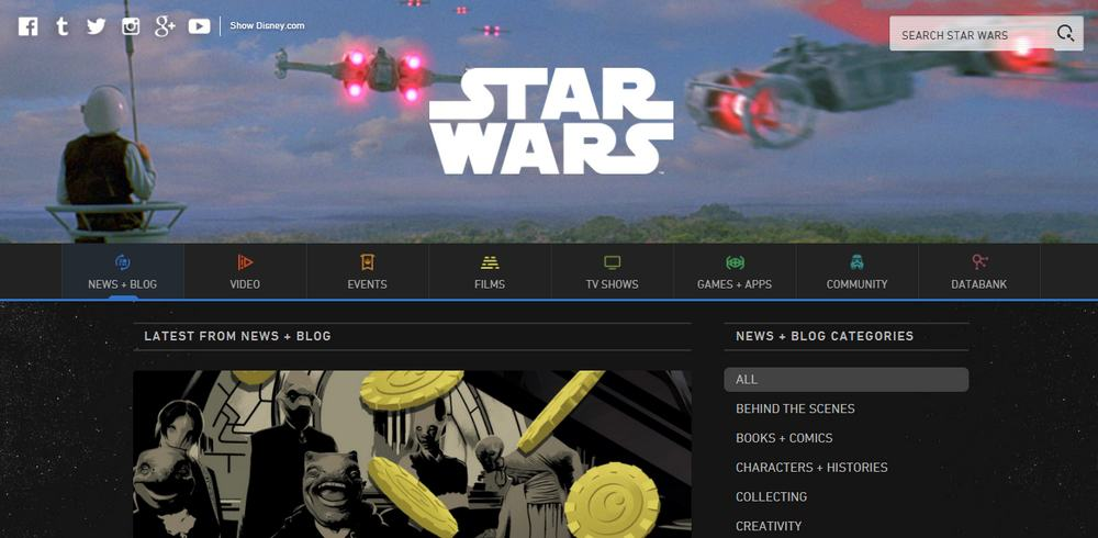 The Official Star Wars Blog is built with WordPress