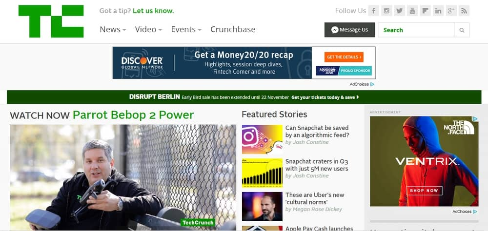 TechCrunch's Blog is built with WordPress