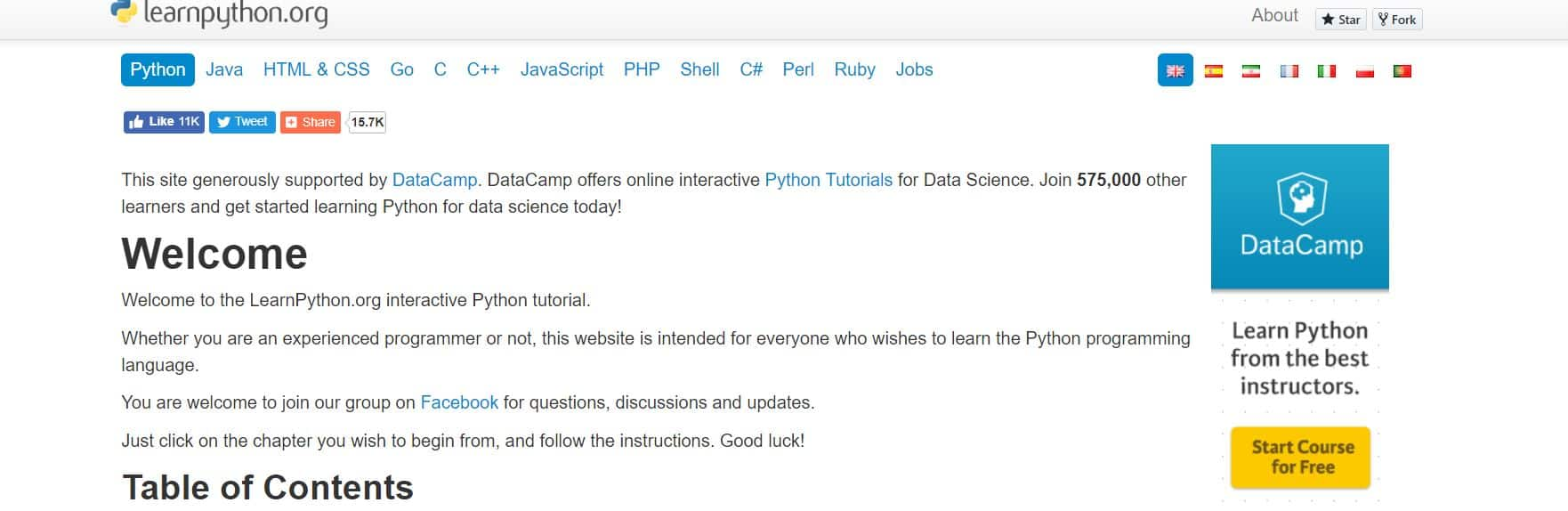 Learn Python with Learnpython.org