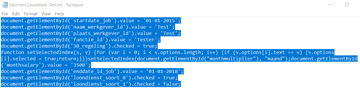 From Our Python Script we Copy over this JavaScript Code