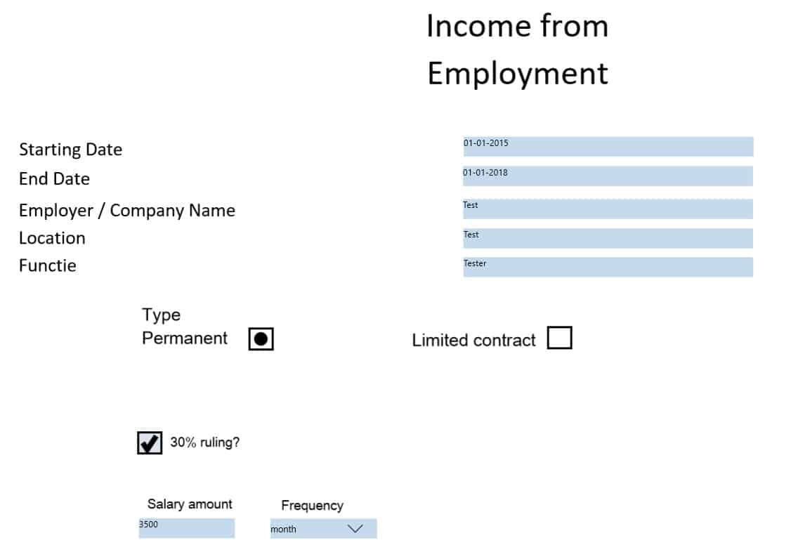 An example of how the data filled in the online form
