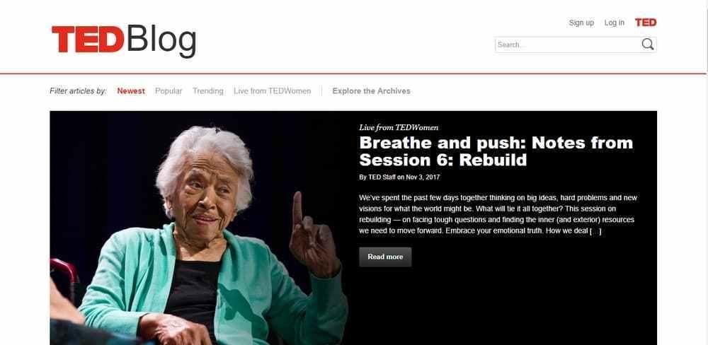 Ted Blog uses WordPress