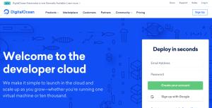 digital ocean homepage
