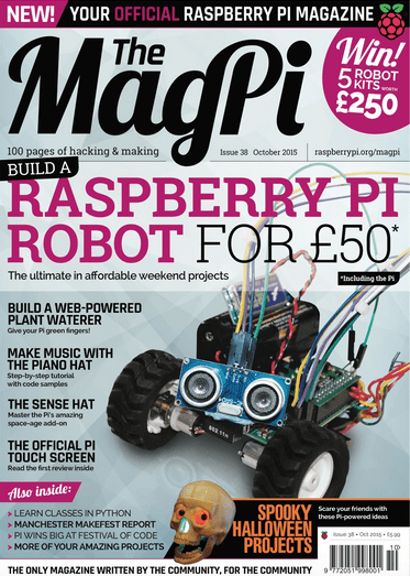 The cover of The MagPi - Issue 38 October Edition