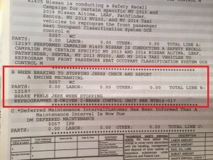 Nissan Brake Invoice