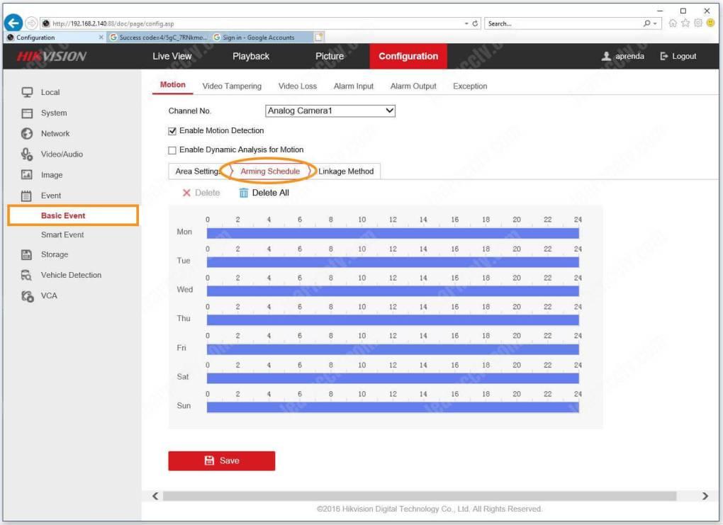 Lịch trình trang bị sự kiện cơ bản cho cấu hình DVR của Hikvision