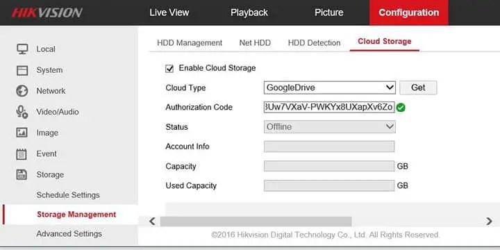 Bộ nhớ cấu hình DVR Hikvision Google Drive.  Mã OK