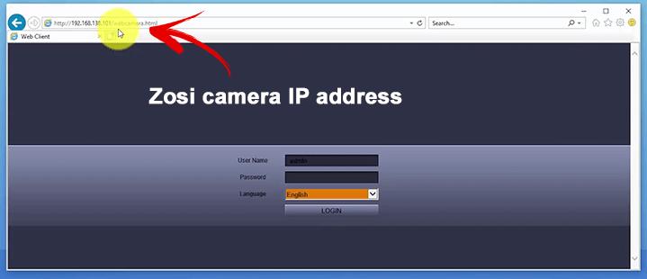 Đăng nhập trình duyệt web camera IP Zosi