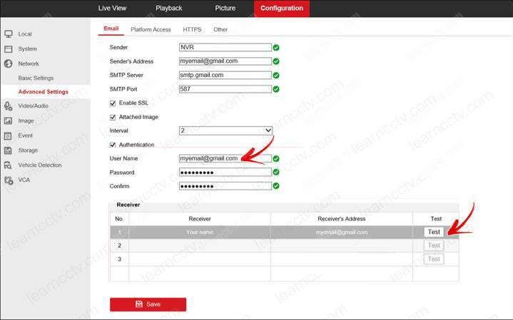 Hikvision-thông báo qua gmail - Cài đặt nâng cao