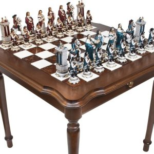 King Louis The Sun King Chessmen & Luxury Palazzo Chess & Checkers Table from Italy, high end chessboard, luxury chessboard