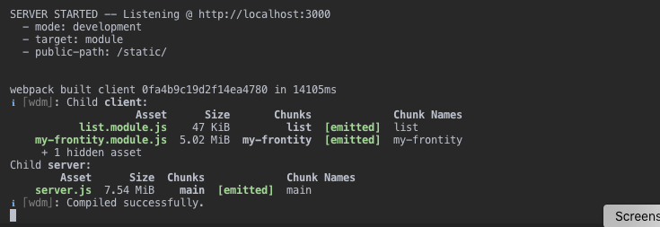 Screenshot showing completed built process with frontity dev CLI command