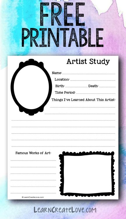 Artist Study Printable Worksheet