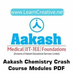 Aakash Crash Course CHemistry Modules for IIT JEE/NEET PDF