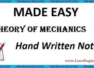 Made Easy Academy Theory of Mechanics Handwritten Notes