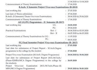Anna University Affiliated colleges UG/PG Practical & Project Viva Schedule April/May 2020