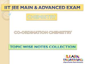 Co-ordination Chemistry (Chemistry) Notes for IIT-JEE Exam
