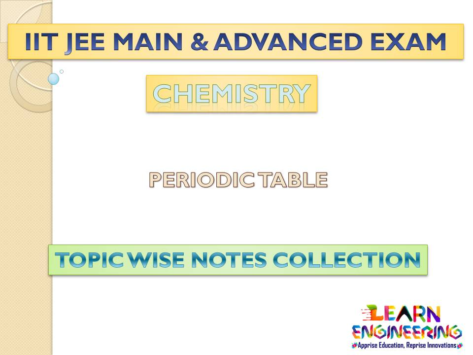 Periodic Table (Chemistry) Notes for IIT-JEE Exam