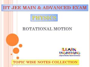 Rotational Motion (Physics) Notes for IIT-JEE Exam