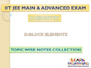 D-Block Elements (Chemistry) Notes for IIT-JEE Exam