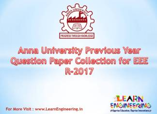 Anna University Previous Year Question Paper Collection for (EEE) Electrical Engineering Regulation 2017