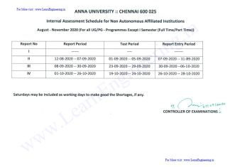 Anna University Affiliated colleges Internal Assessment Schedule for November/ December 2020