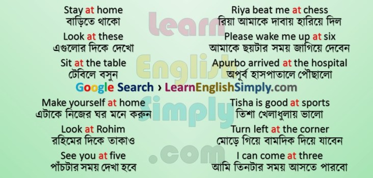 Preposition In Learn In Marathi All Complate: At (Part 01) - Learn English Simply