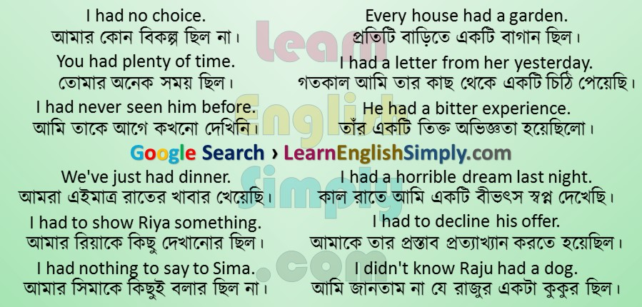 Had use in simple sentences