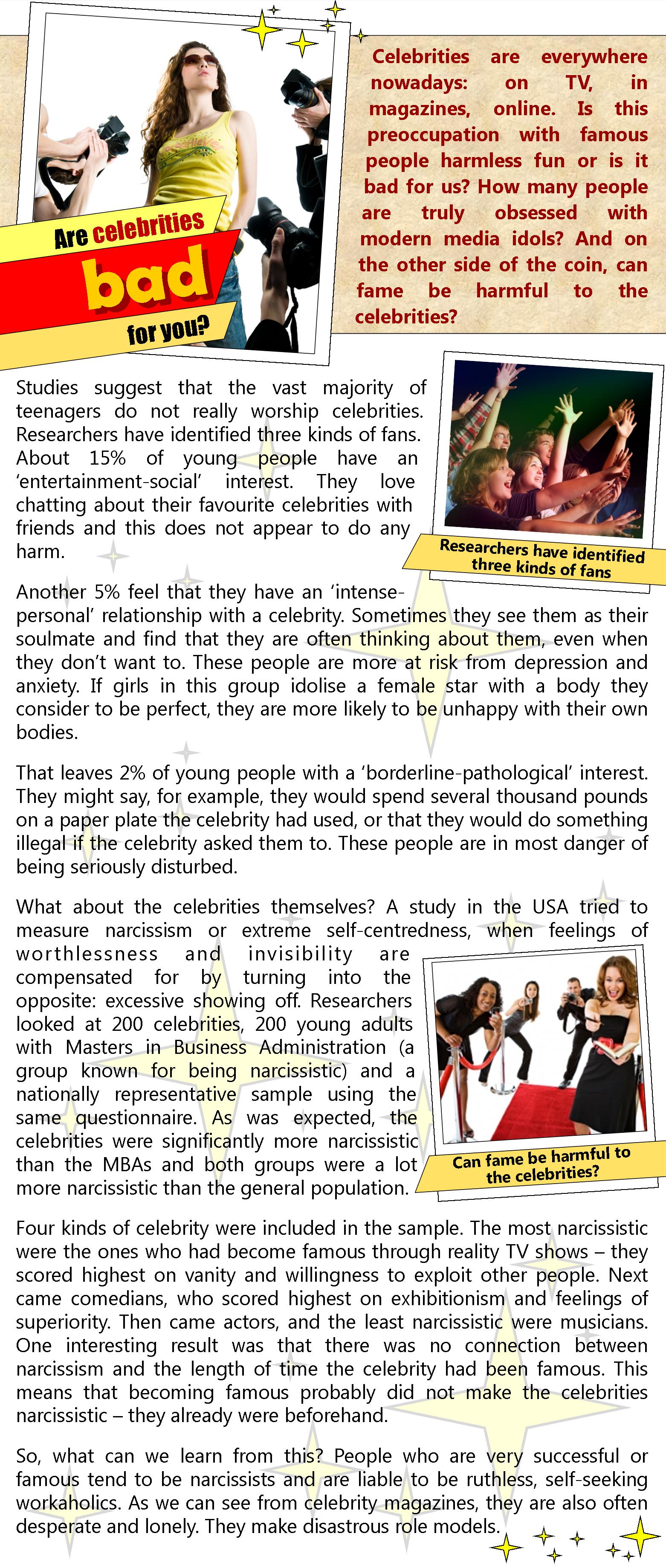 Are Celebrities Bad For You Learnenglish Teens