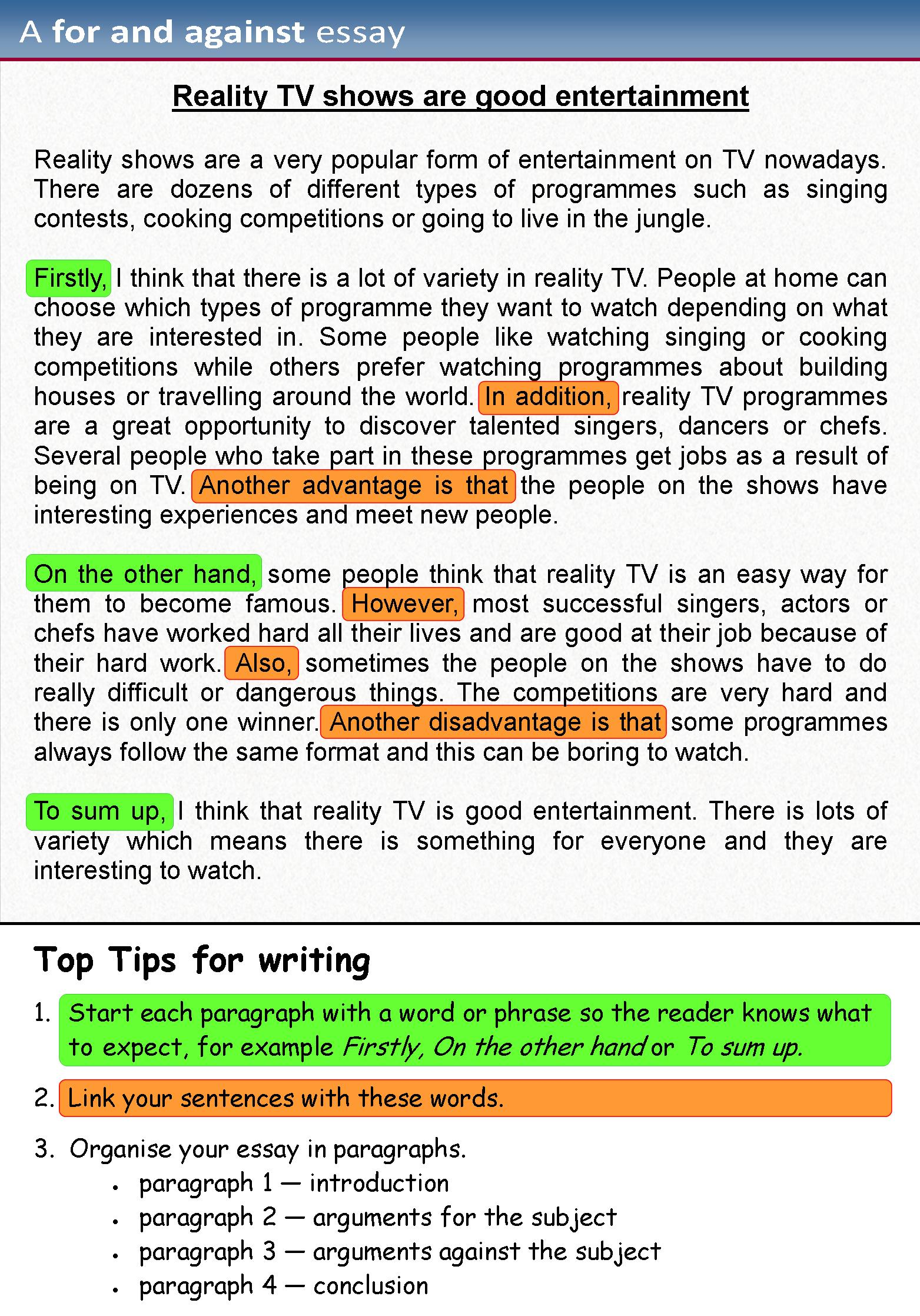 A For And Against Essay Learnenglish Teens