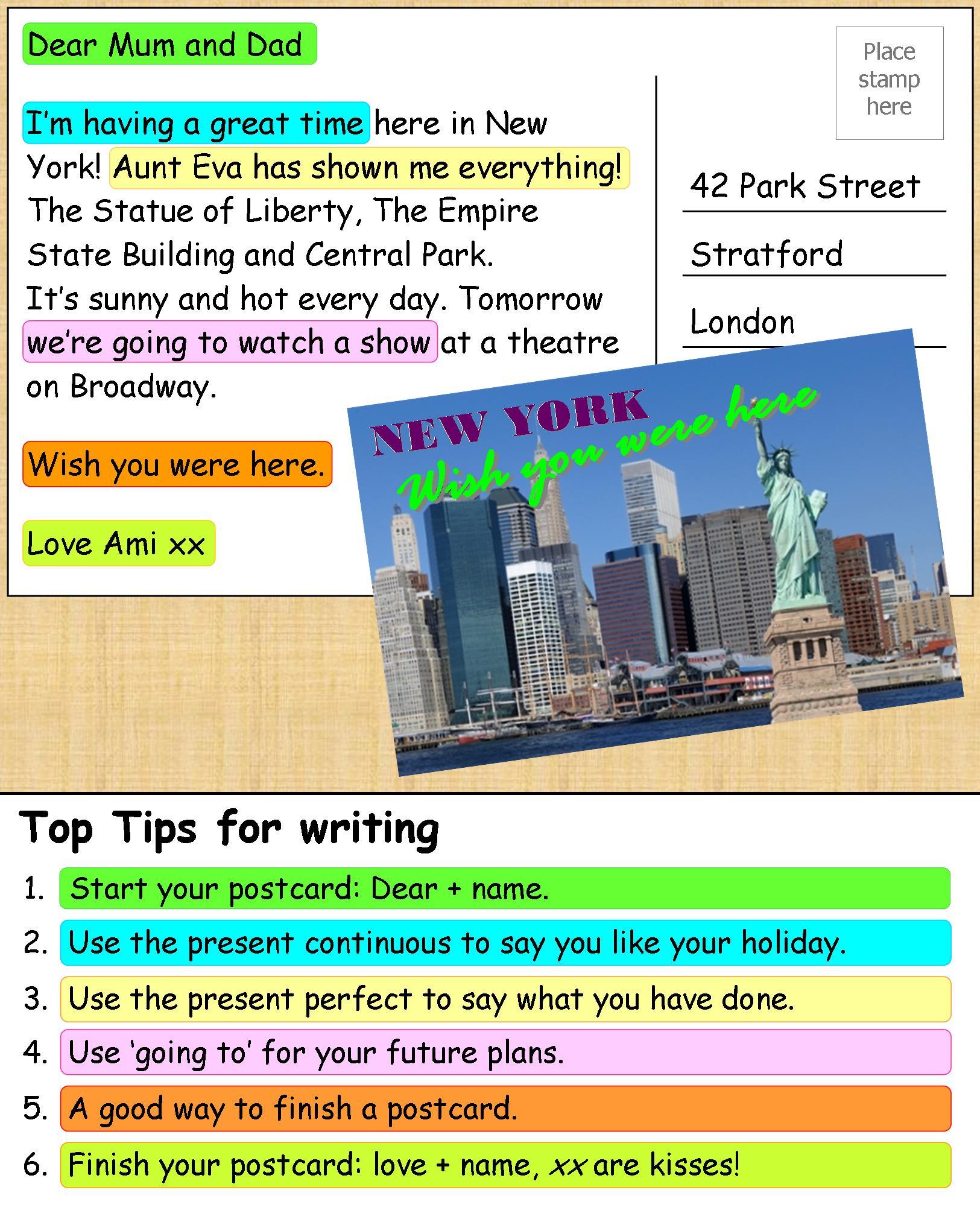 My 4th Junior High English Class Writing Postcard