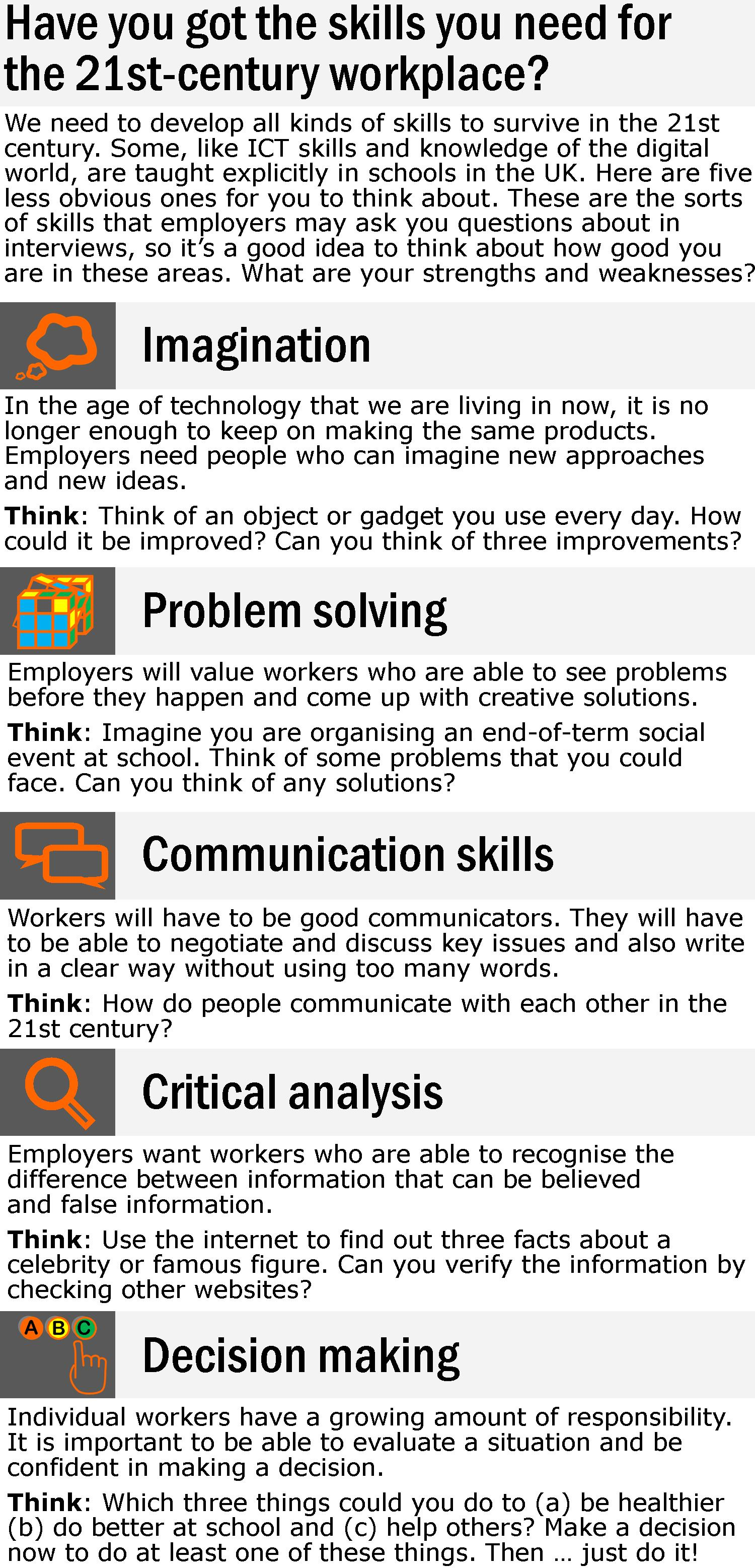Skills For The 21st Century Workplace