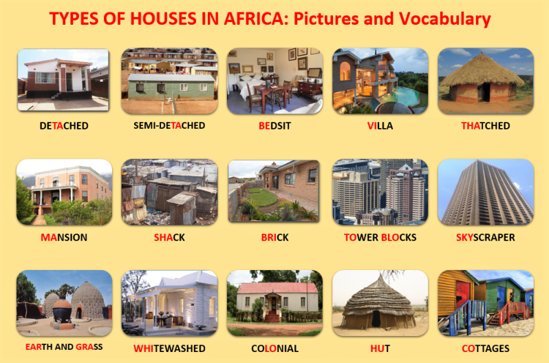 Types of Houses in Africa, Pictures and Vocabulary, Learn English With Africa, December 2016-English Worksheets