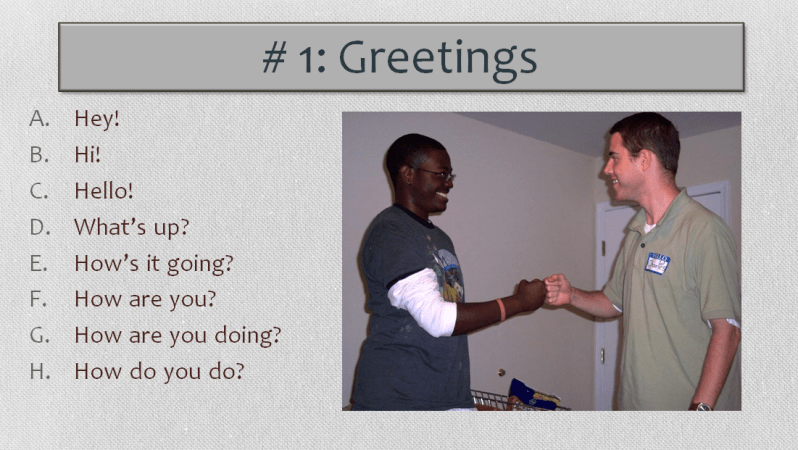 English Worksheet, Greetings-Image from Powerpoint, Learn English With Africa, 2016
