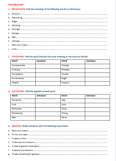 The Decision Short Story with vocabulary worksheet