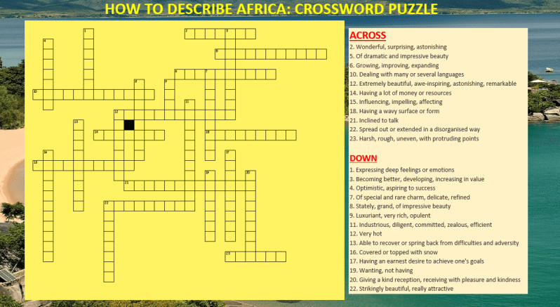 English worksheets (Crossword Puzzle: How to Describe Africa, Learn English With Africa, October 2016)