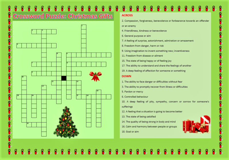 English Worksheets, Crossword Puzzle- (Six Days Before Christmas, Christmas Gifts, Learn English With Africa, December 2016