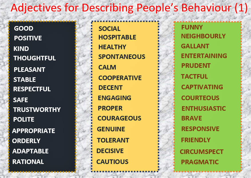 English Worksheets-Adjectives for Describing Behaviour (1), Learn English With Africa, September 2017